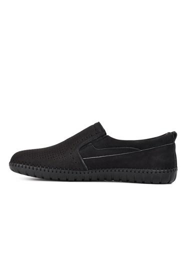 Castle Black 782 Siyah Nubuk Hakiki Deri Erkek Günlük Ayakkabı Siyah